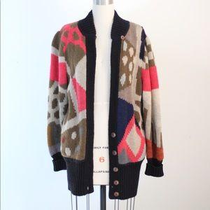 Vtg Wool Blend Op Art Cardigan Sweater M/L
